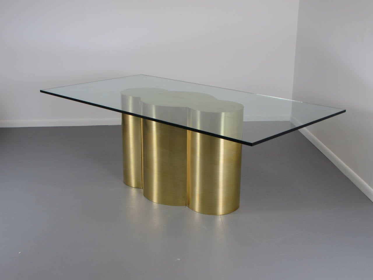 Custom Quatrefoil Dining Table Base In Polished Brass By Refine Limited 2