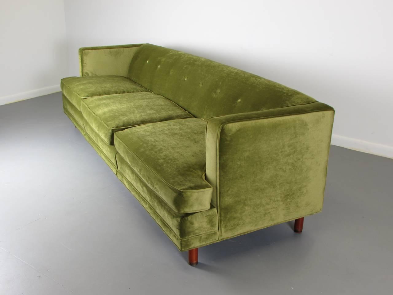 Striking Velvet Tuxedo Sofa In The Style Of Edward Wormley 1960s Legs Are Walnut