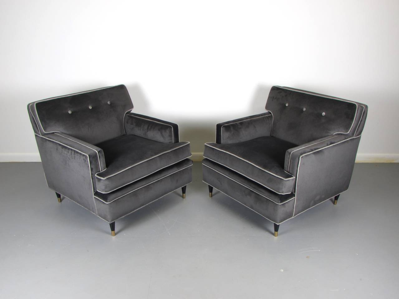 Pair Of Charcoal Velvet Tuxedo Lounge Chairs After Harvey