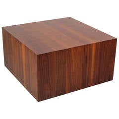 Handsome Walnut Cube Coffee Table by Milo Baughman for Directional, 1970s