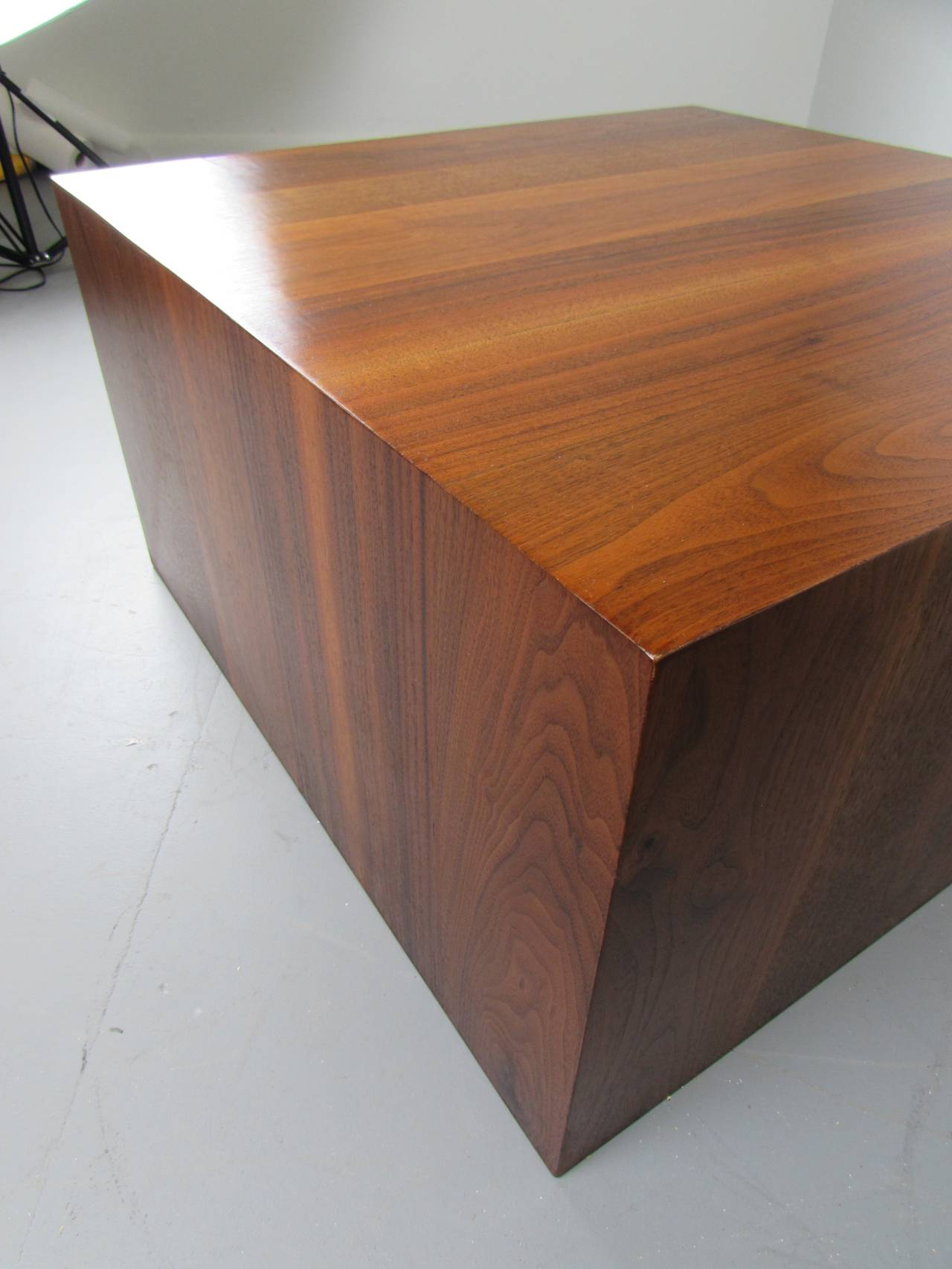 Handsome Walnut Cube Coffee Table by Milo Baughman for Directional