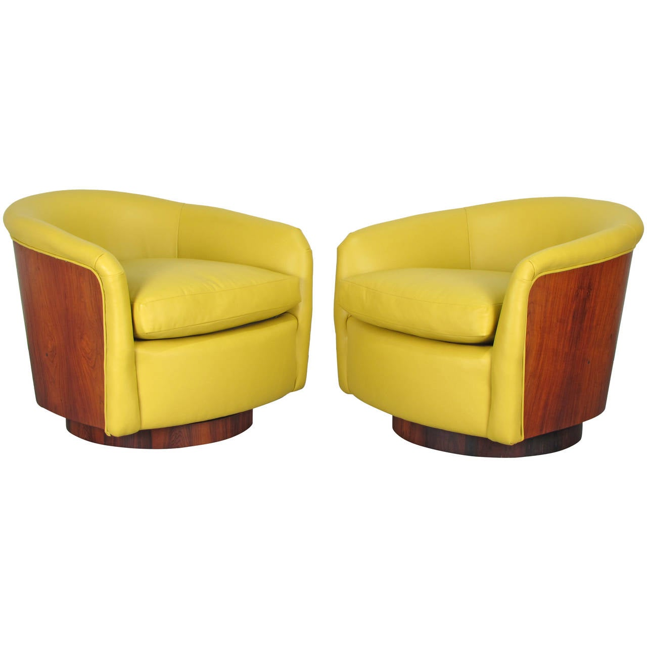 Rare Rosewood Wrapped Swivel Tub Chairs In Leather By Milo Baughman, 1970s 1
