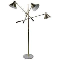 Brass Triennale Floor Lamp with Marble Base by Robert Sonneman, 1970s