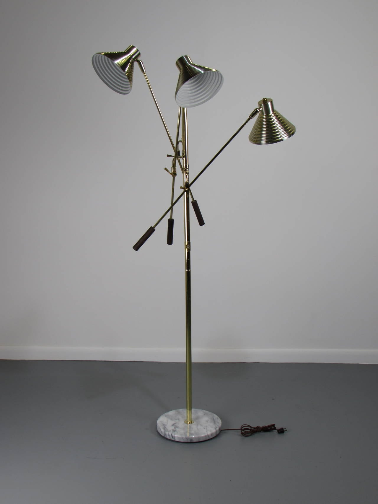 Brass Triennale Floor Lamp With Marble Base By Robert Sonneman 1970s At 1stdibs