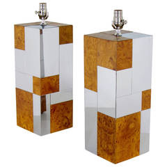 Fabulous Chrome and Burl Cityscape Lamps by Paul Evans for Directional, 1970s