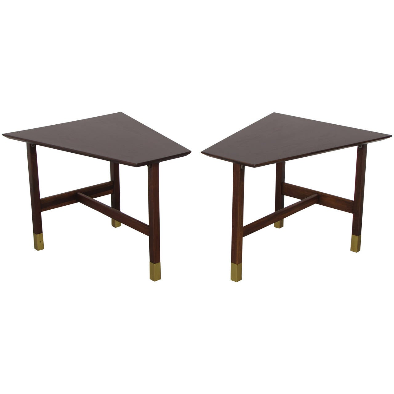 Handsome trapezoidal walnut and brass end tables by harvey for Trapazoid table