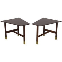 Handsome Trapezoidal Walnut and Brass End Tables by Harvey Probber, 1960s