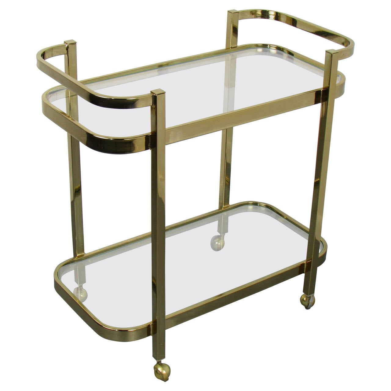 luscious brass bar cart by milo baughman for thayer coggin. Black Bedroom Furniture Sets. Home Design Ideas