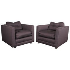 Handsome Pair of Henredon Club Chairs with Down Cushions