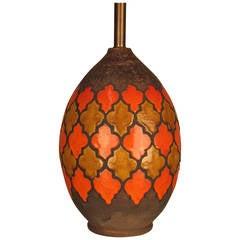 Bitossi for Raymor Bulbous Ceramic Lamp with Quatrefoil Pattern