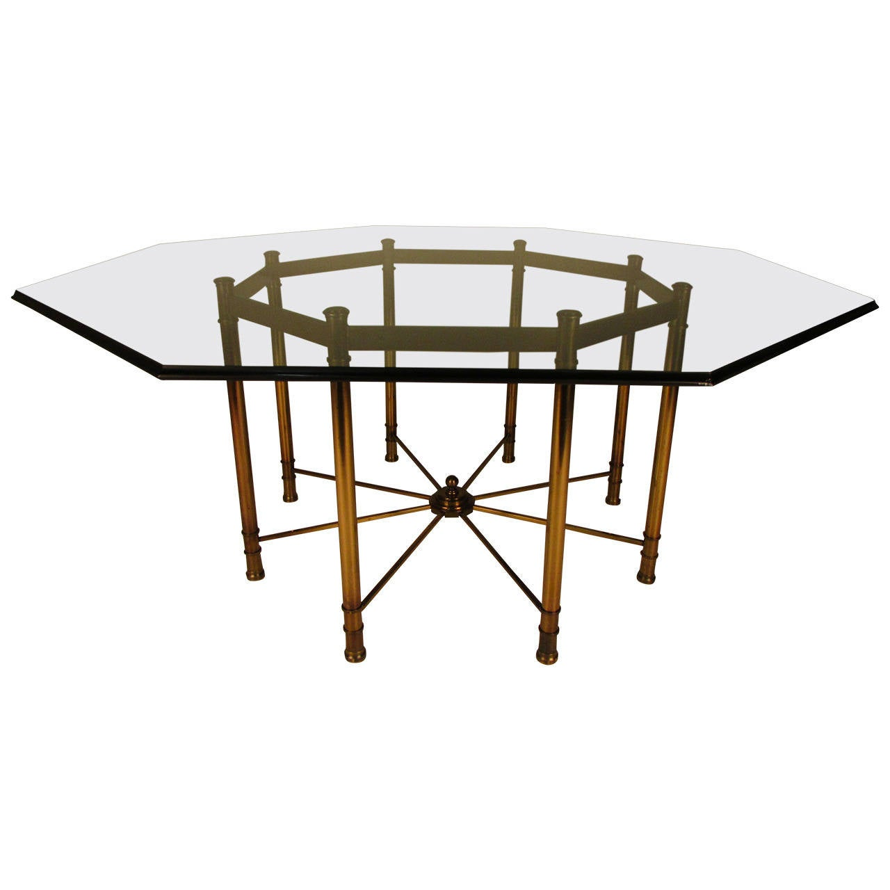 Mastercraft brass dining table - Impressive Mastercraft Octagonal Directoire Style Brass And Glass Dining Table 1