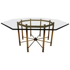 Impressive Mastercraft Octagonal Directoire Style Brass and Glass Dining Table
