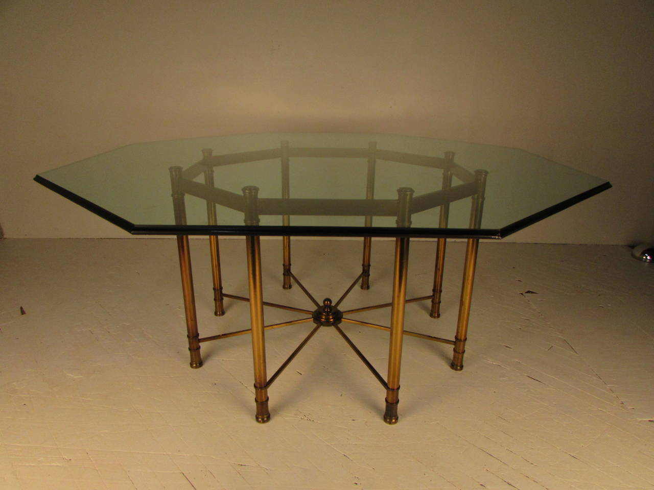 Directoire Style Octagonal Dining Table With Original Glass Top And  Characteristic Mastercraft Patina On Brass.