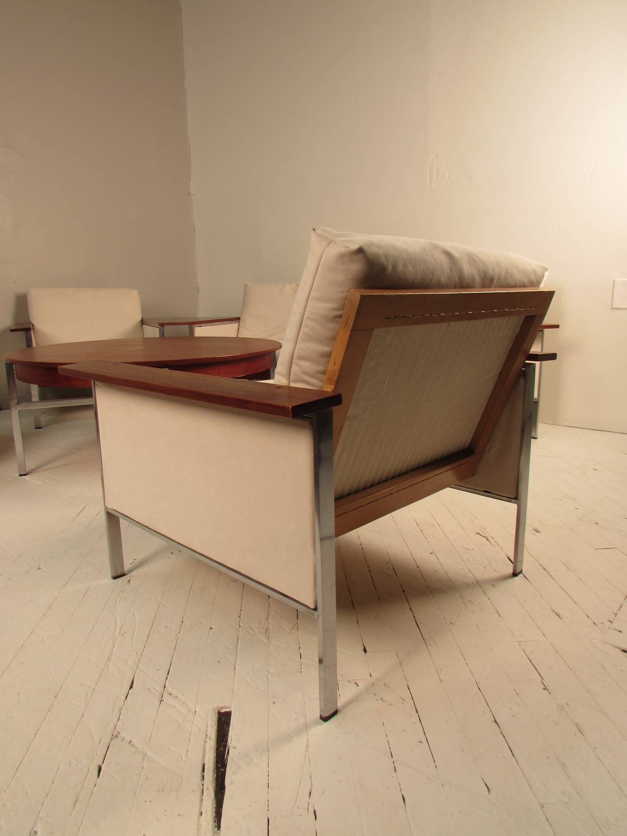 Scarce minimalist musterring mobel germany chrome and walnut living room suite at 1stdibs - Mobel for living ...