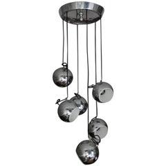 Mid-Century Six Globe Chrome Pendant