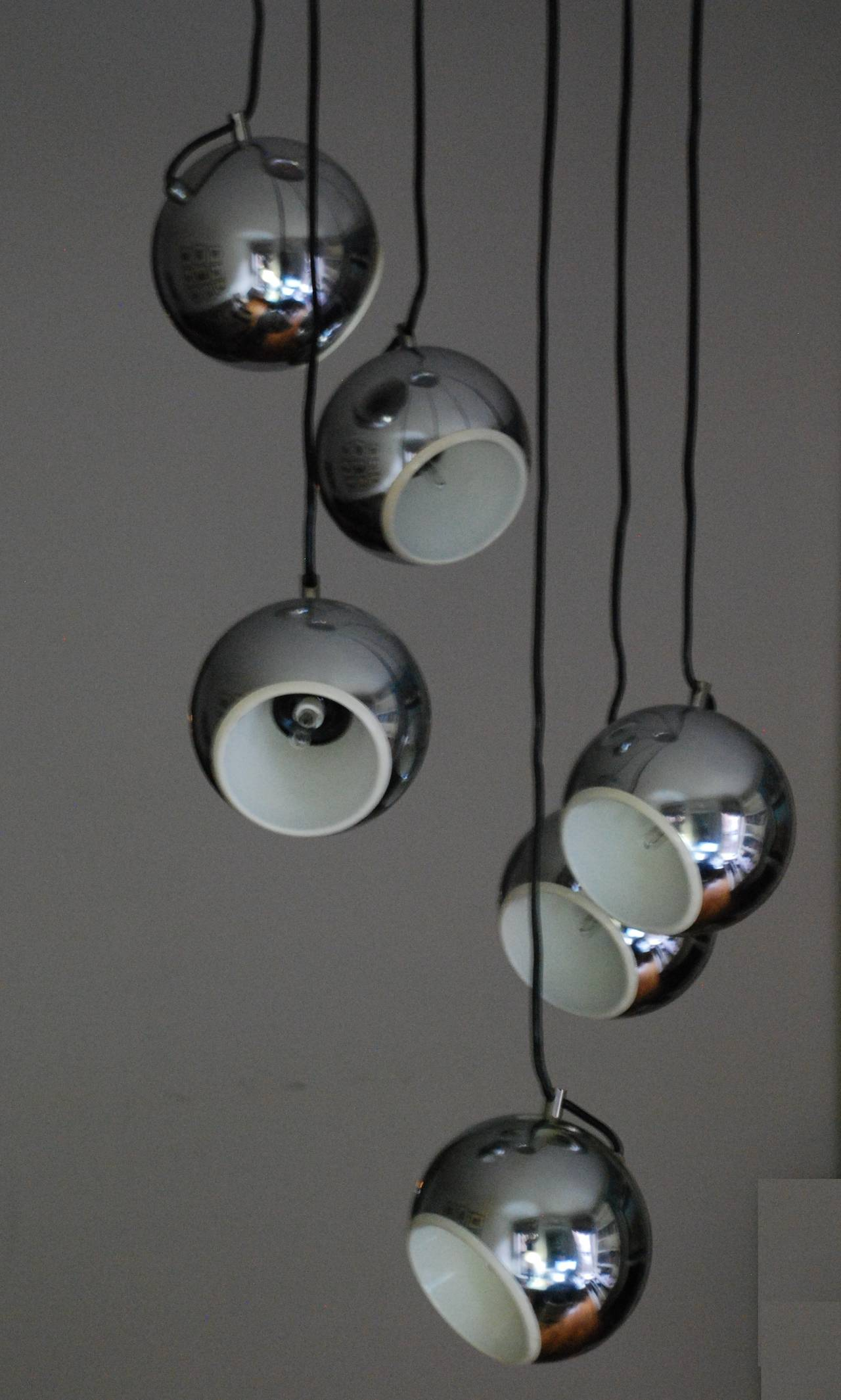 Mid century italian chrome globe six light pendant for for Mid century modern globe pendant light