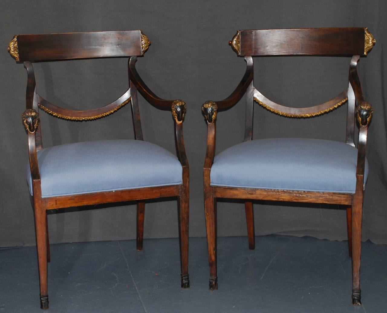 Set of Eight Italian Neoclassical Ram's Head Dining Chairs For Sale 1