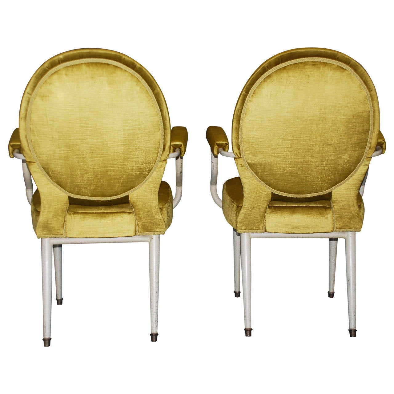 Pair of vintage Italian moderne Louis XVI style armchairs in crackle-painted metal finish with ormolu mounts upholstered in yellow Italian silk velvet.