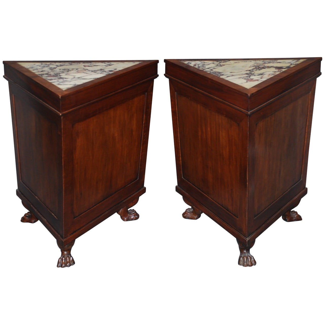 Pair of Italian Corner Marble-Top Side Tables