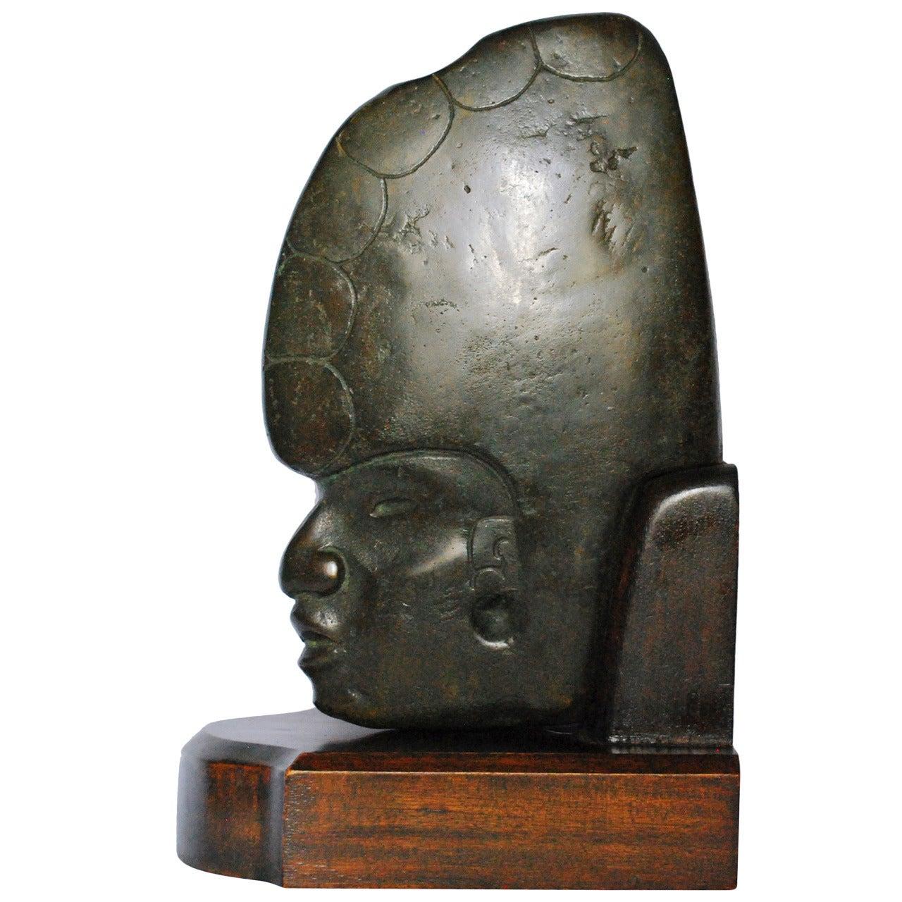 Mesoamerican French Bronze Sculpture