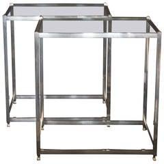 John Vesey Aluminum Pair of Modern Side or Bedside Tables