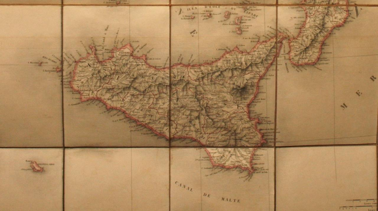 Linen Antique Map of Italy by Andriveau-Goujon, 1843 For Sale