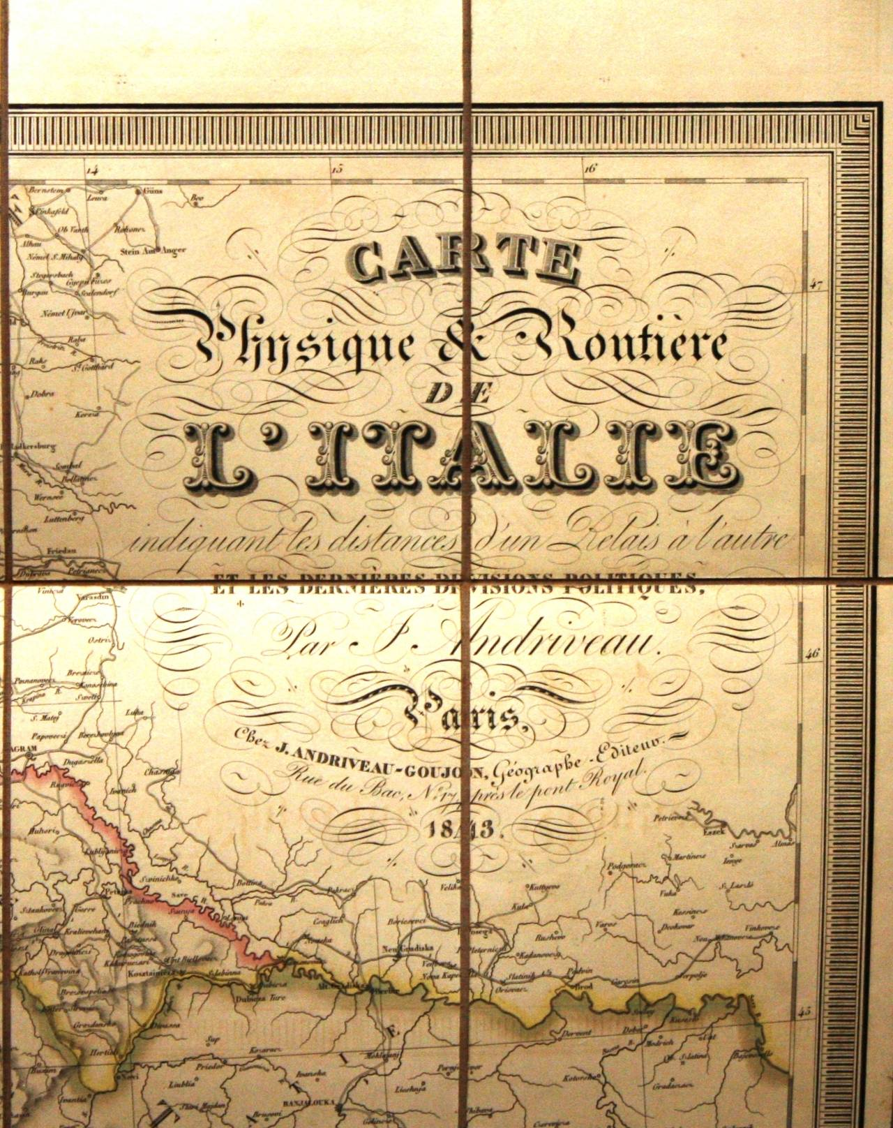 Mid-19th Century Antique Map of Italy by Andriveau-Goujon, 1843 For Sale