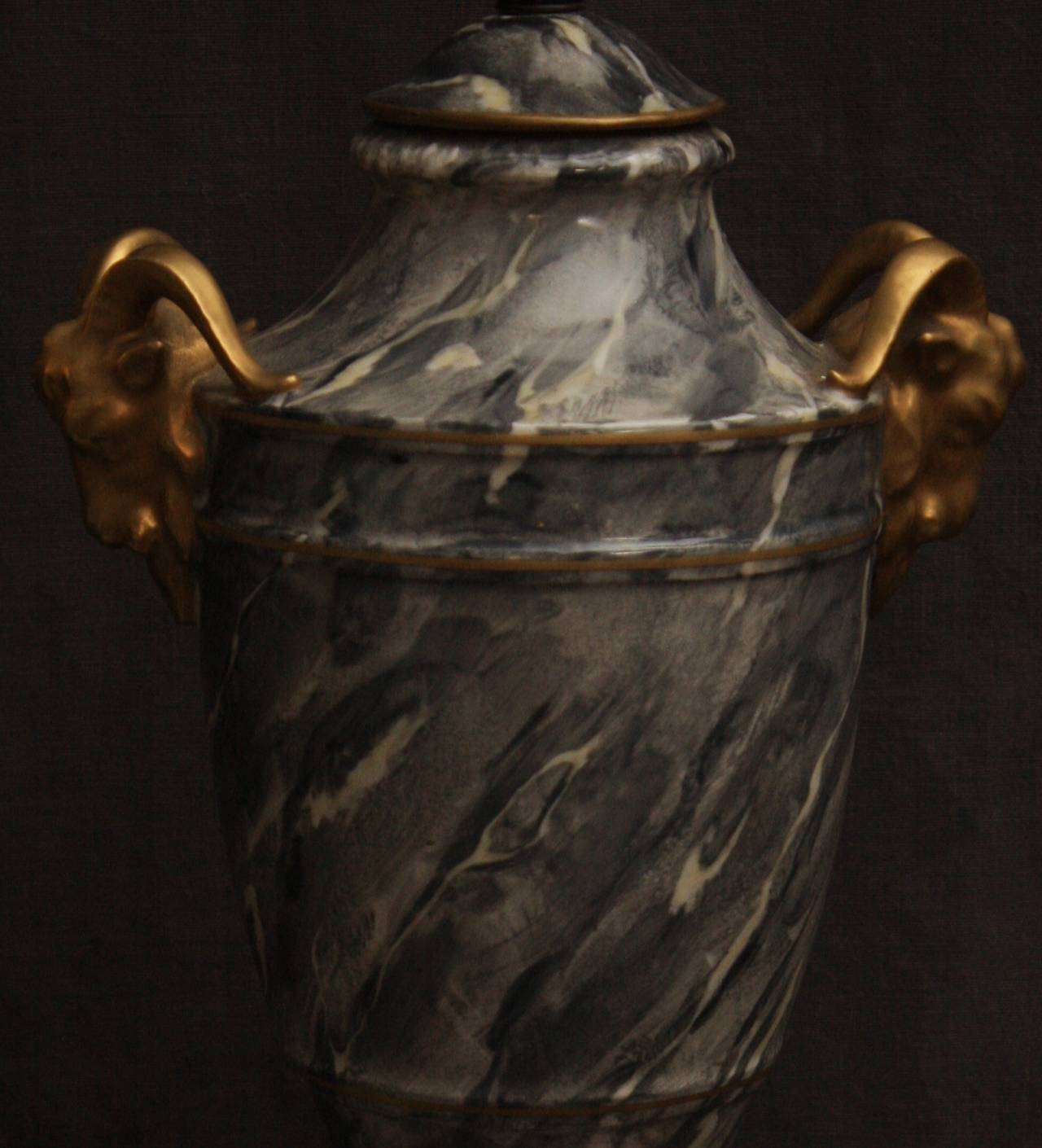 French Pair of Grey Marbleized Urn Lamps For Sale