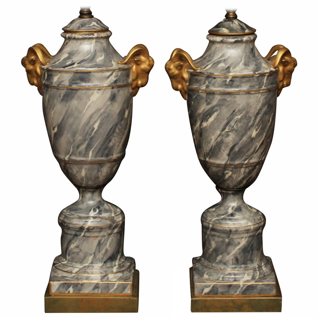 Pair of Grey Marbleized Urn Lamps For Sale