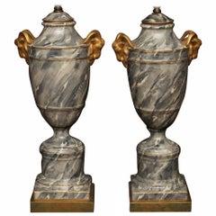 Pair of Grey Paris Porcelain Marbleized Urn Lamps
