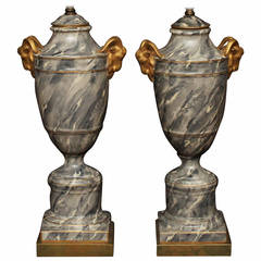 Pair of Grey Marbleized Urn Lamps