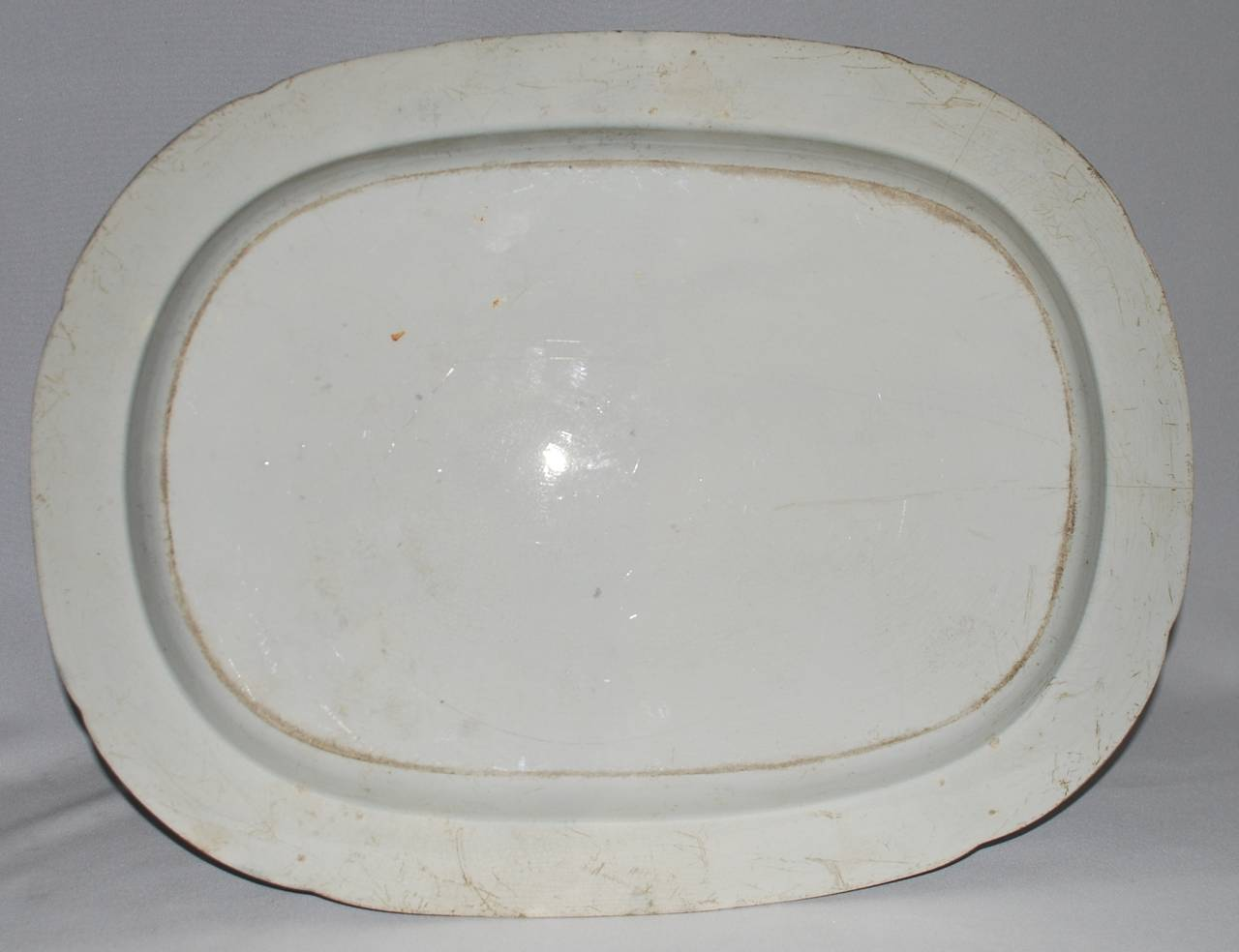 19th Century Large Blue and White Chinoiserie Platter For Sale