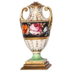 Floral Porcelain Urn-Form Lamp