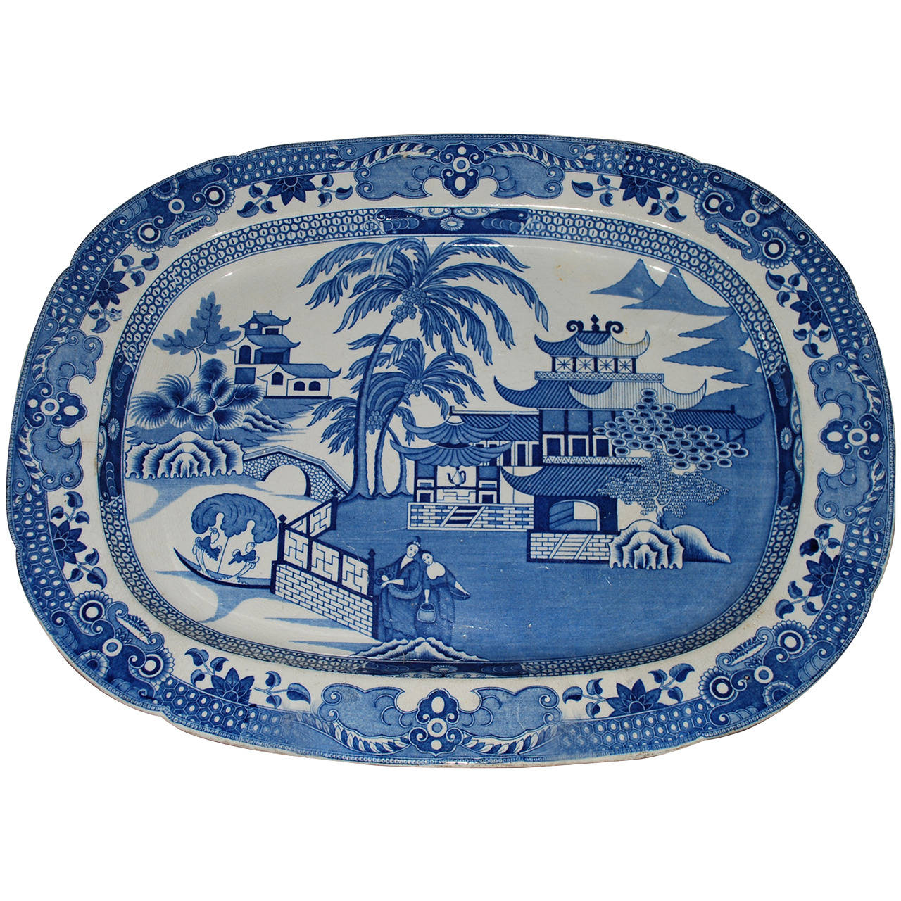 Large Blue and White Chinoiserie Platter For Sale