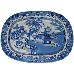 Large Blue and White Chinoiserie Platter