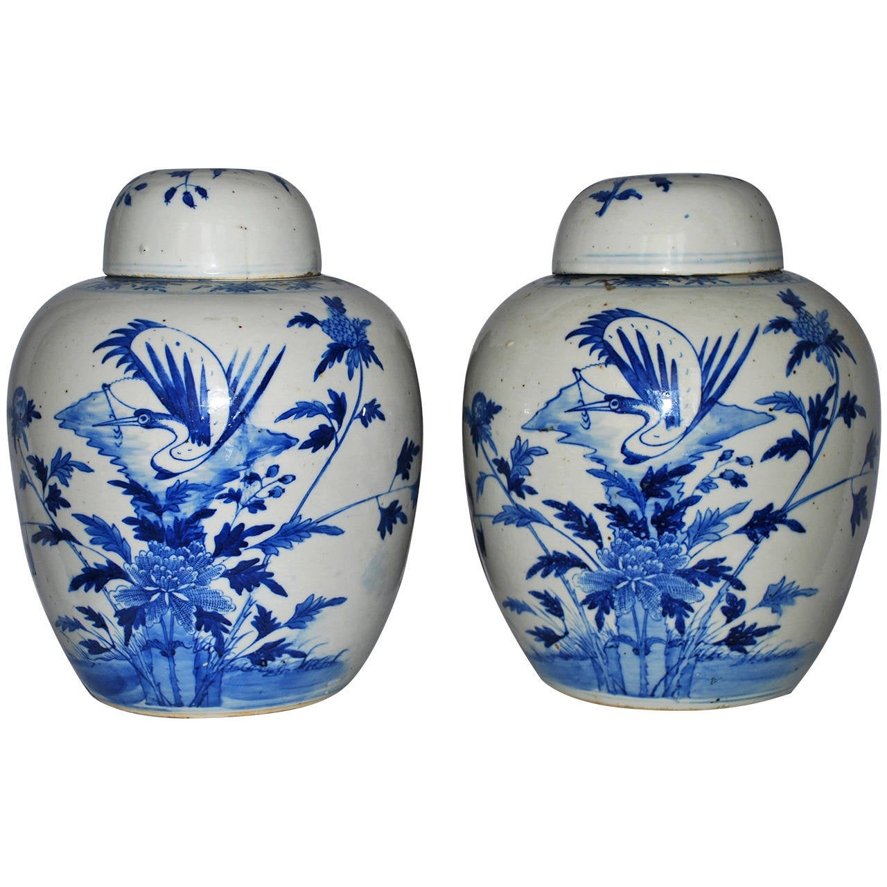 Pair of Vintage Blue and White Ginger Jars