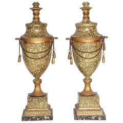 Pair of Tole Urn-Form Lamps