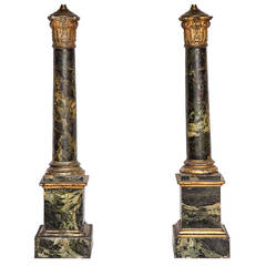 Pair French Painted and Gilt Tole Column Lamps
