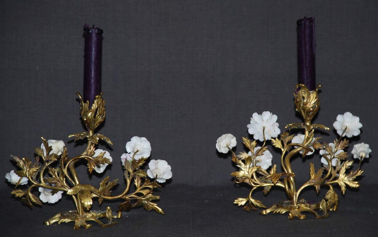 Pair of Louis XV Ormolu Candlesticks with Porcelain Flowers For Sale 2