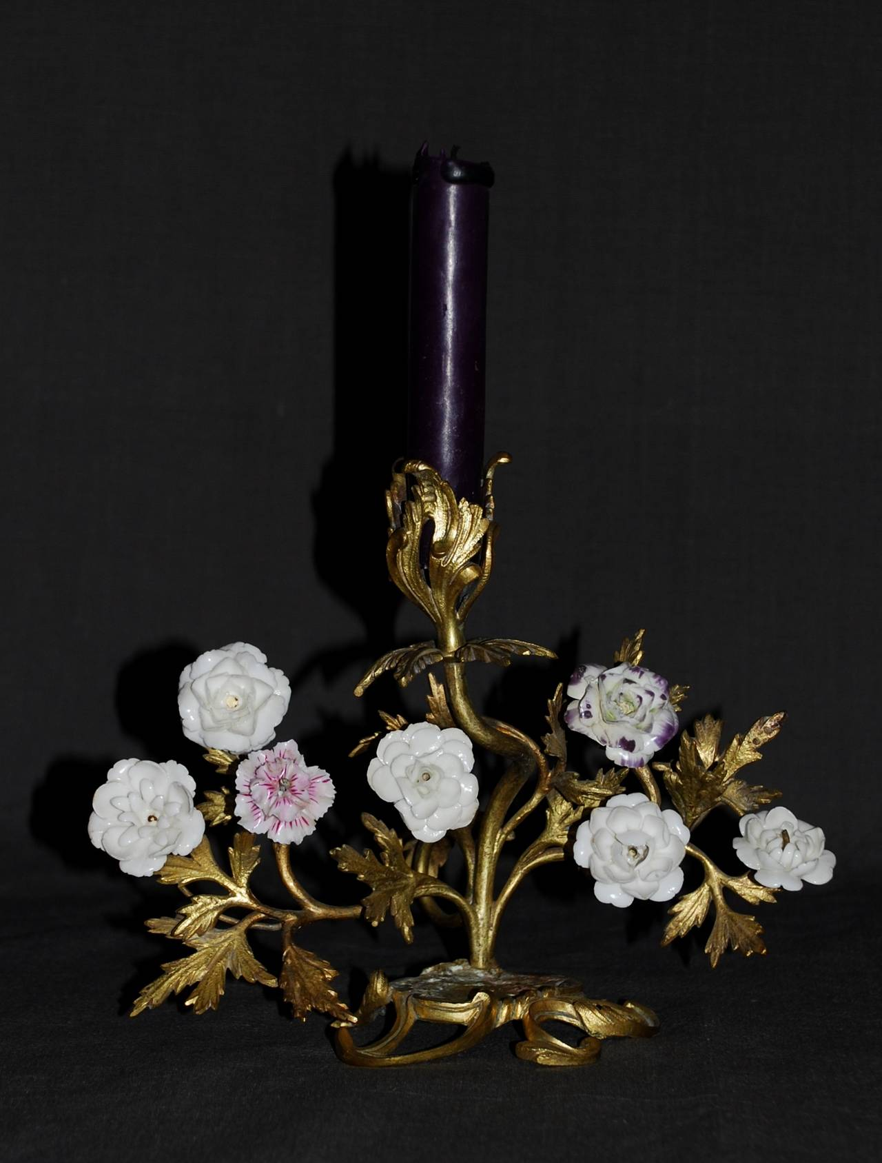 French Pair of Louis XV Ormolu Candlesticks with Porcelain Flowers For Sale