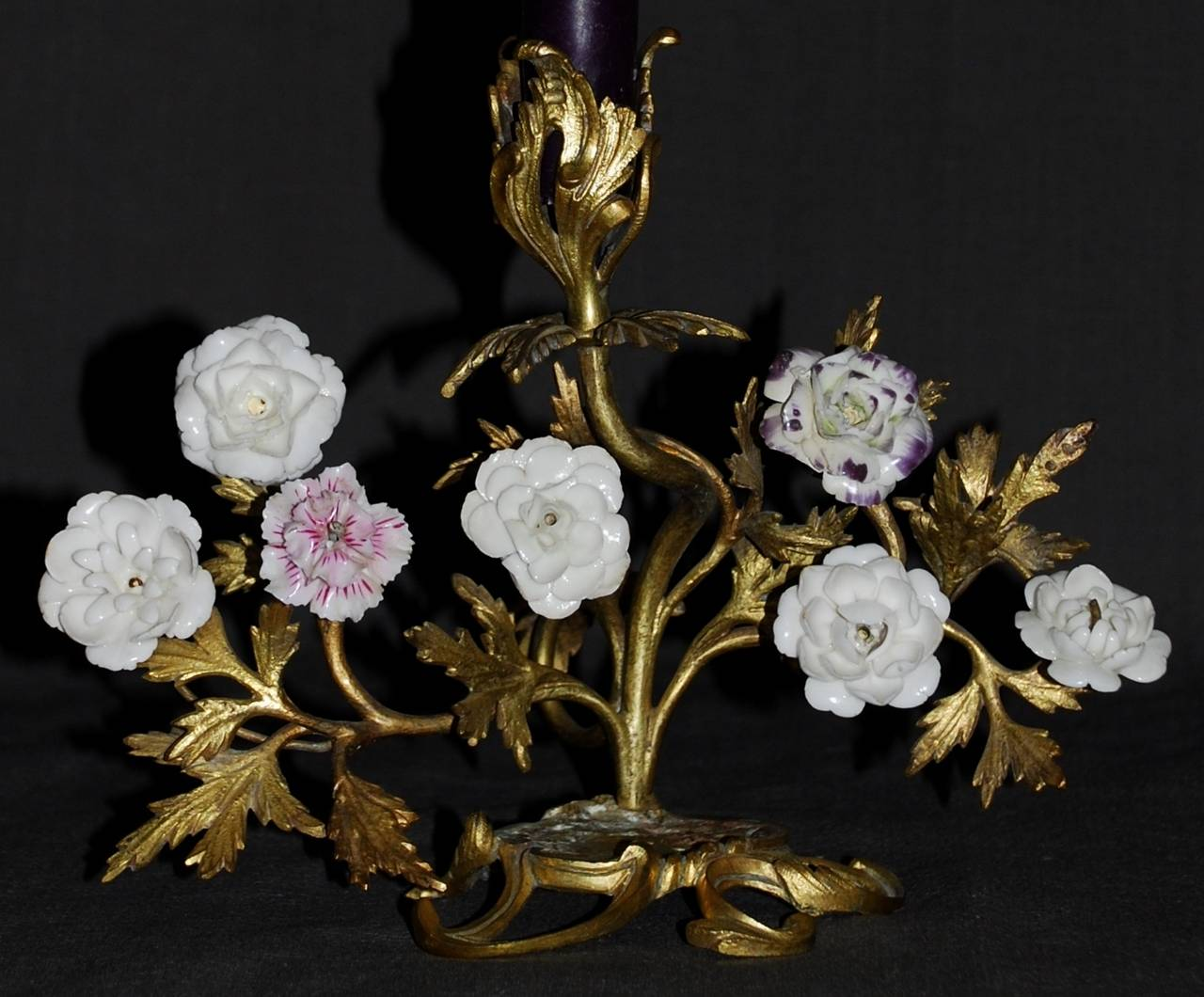 Pair of Louis XV Ormolu Candlesticks with Porcelain Flowers For Sale 1