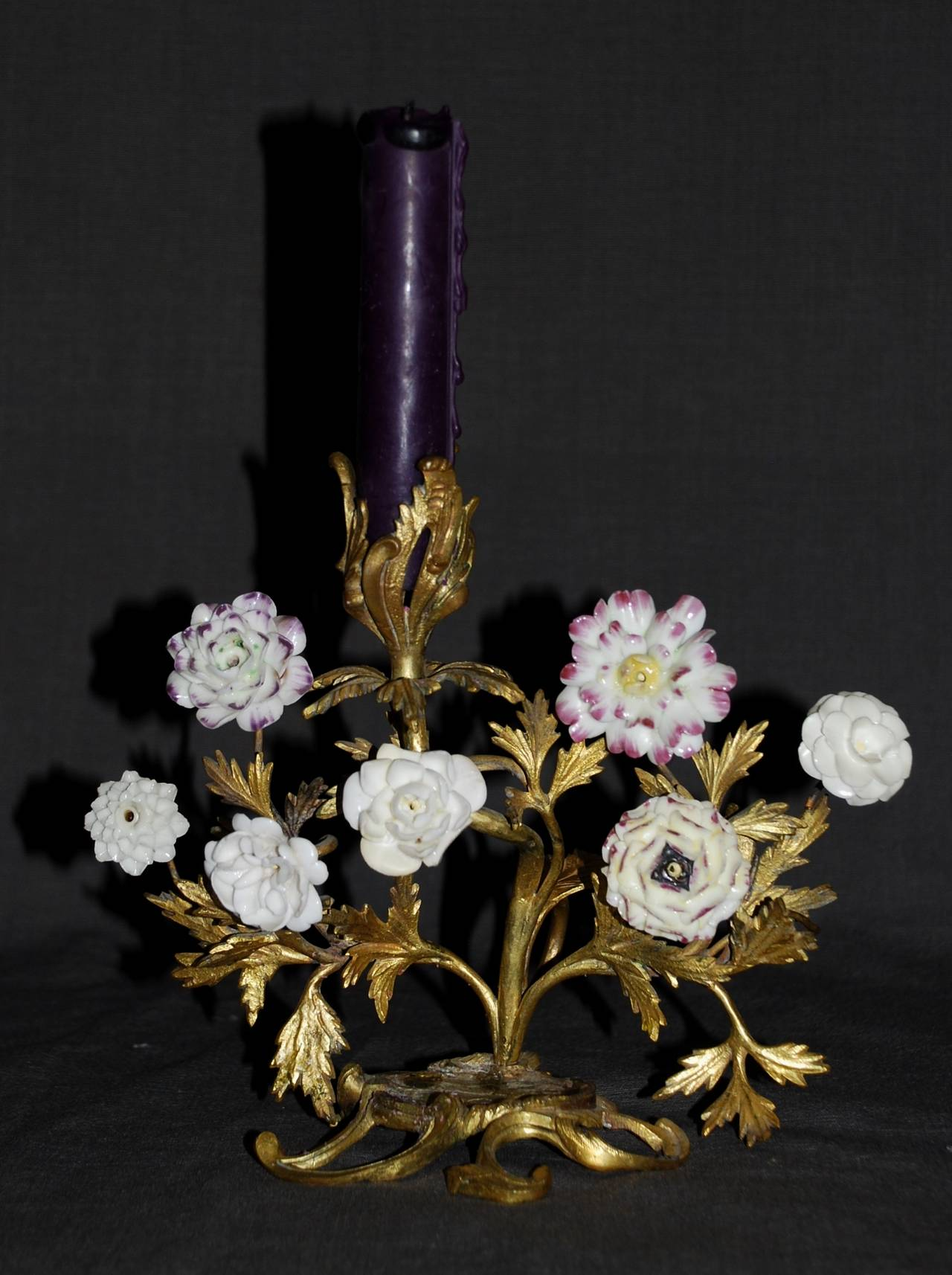 Pair of Louis XV Ormolu Candlesticks with Porcelain Flowers In Good Condition For Sale In New York, NY