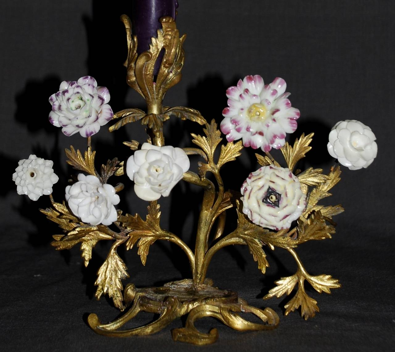 18th Century Pair of Louis XV Ormolu Candlesticks with Porcelain Flowers For Sale