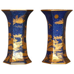 Pair of Hexagonal Chinoiserie Blue and Gold Vases