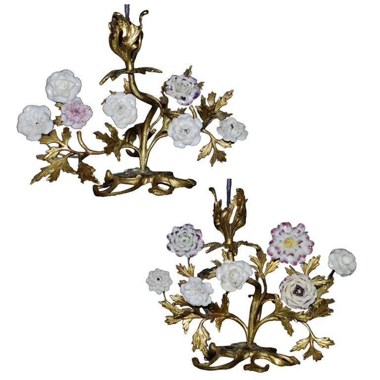 Pair of Louis XV Ormolu Candlesticks with Porcelain Flowers For Sale