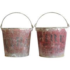 Pair Antique American Fire Buckets
