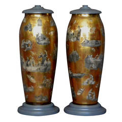 Pair of Chinoiserie Decalcomania Lamps