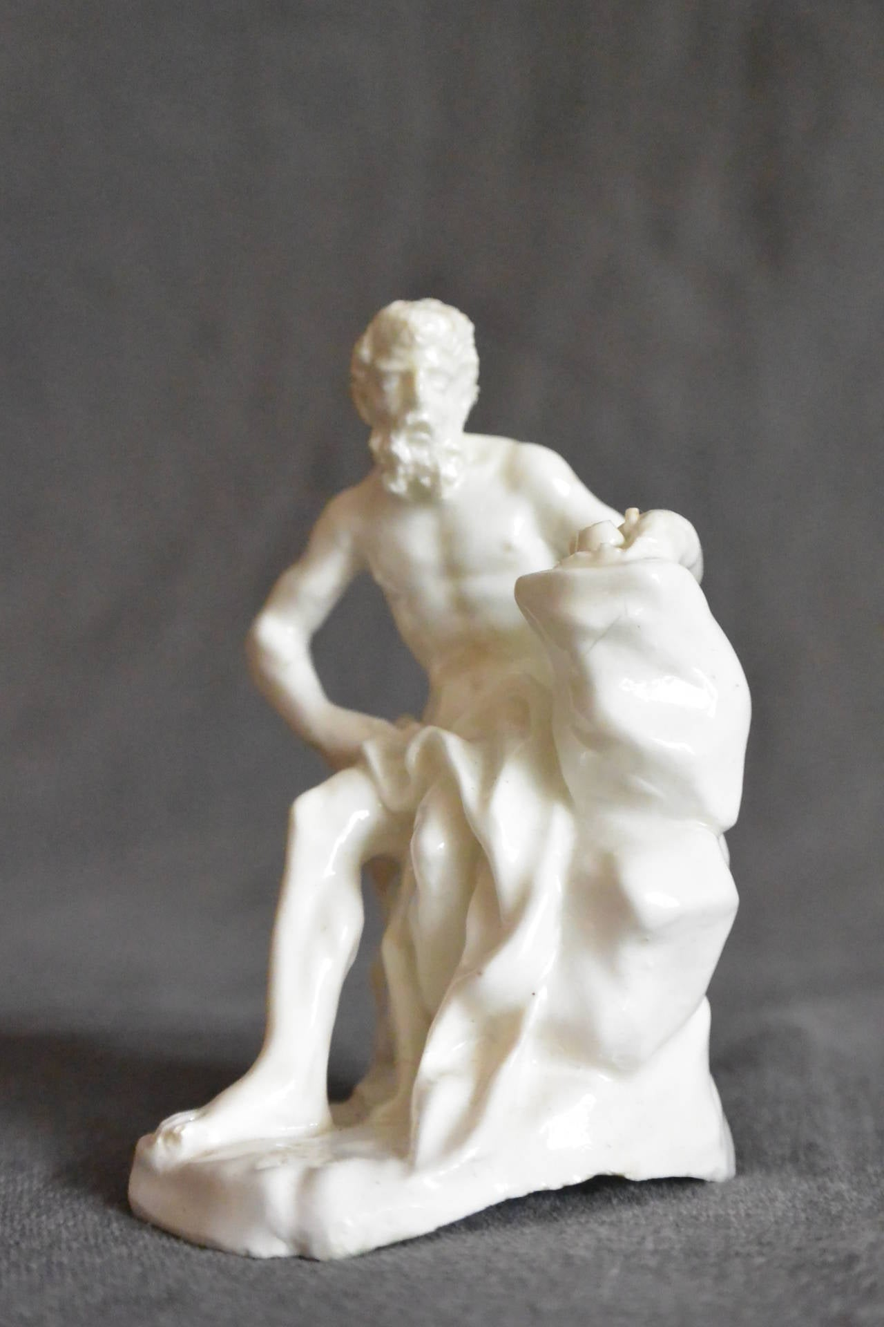 Small white soft-paste model of a river god, possibly Inachus. Naples Real Fabbrica. Italy, c.1785.  Dimension: 2