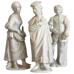 Set of Three Cozzi White Porcelain Venetian Figures