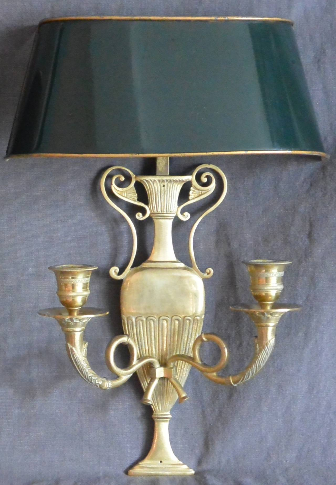 Pair Of French Sconces With Tole Shades For Sale At 1stdibs